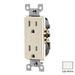 Leviton T5325-T Decora® Tamper Resistant Double Pole Straight Blade Duplex Receptacle; Wall Mount, 125 Volt, 15 Amp, Light Almond