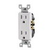 Leviton T5325-W Decora® Tamper Resistant Double Pole Straight Blade Duplex Receptacle; Screw Mount, 125 Volt, 15 Amp, White