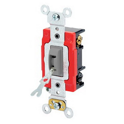 Leviton 1223-2GL Extra Heavy Duty Grade AC Quiet 3-Way Locking Toggle Switch; 1-Pole, 120/277 Volt AC, 20 Amp, Gray