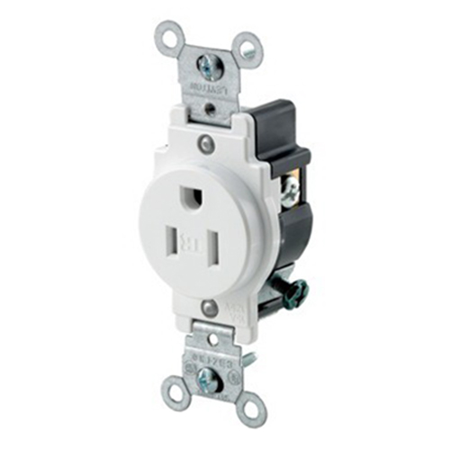 Leviton T5015-W Tamper Resistant Double Pole Straight Blade Single Receptacle; Wall Mount, 125 Volt, 15 Amp, White