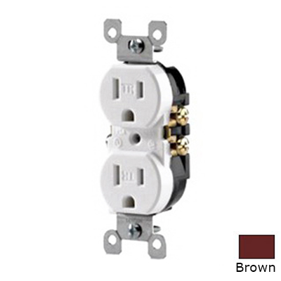 Leviton T5320 Tamper Resistant Double Pole Straight Blade Duplex Receptacle; Screw Mount, 125 Volt, 15 Amp, Brown