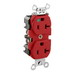 Leviton 8300-HR Double Pole Straight Blade Heavy Duty Duplex Receptacle; Wall Mount, 125 Volt, 20 Amp, Red