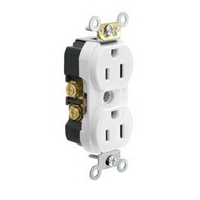 Leviton TBR15-W Double Pole Straight Blade Duplex Receptacle; Wall Mount, 125 Volt, 15 Amp, White