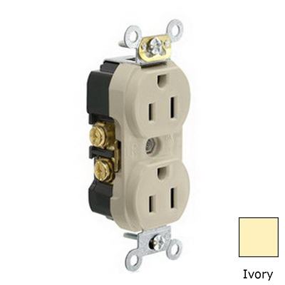 Leviton TBR15-I Double Pole Straight Blade Duplex Receptacle; Wall Mount, 125 Volt, 15 Amp, Ivory