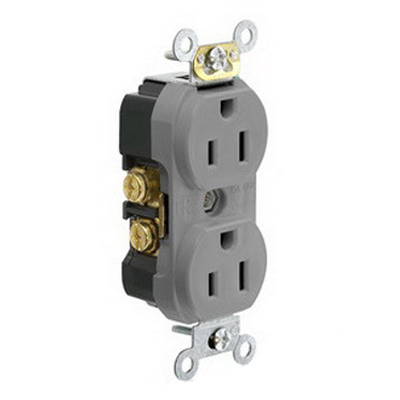 Leviton TBR15-GY Double Pole Straight Blade Duplex Receptacle; Wall Mount, 125 Volt, 15 Amp, Gray