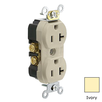Leviton TBR20-I Tamper Resistant Double Pole Straight Blade Duplex Receptacle; 125 Volt, 20 Amp, Ivory