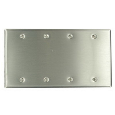 Leviton 84064-40 4-Gang Standard-Size No Device Blank Wallplate; Box Mount, Stainless Steel, Silver