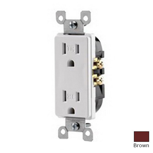 Leviton T5325 Decora® Tamper Resistant Double Pole Straight Blade Duplex Receptacle; Wall Mount, 125 Volt, 15 Amp, Brown