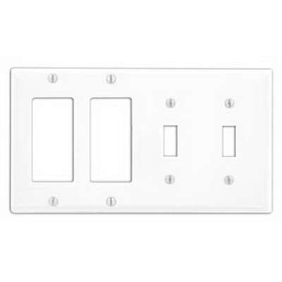 Leviton P2262-W Decora® 4-Gang Standard-Size Combination Wallplate; Device Mount, Painted Metal, White