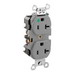 Leviton 8300-HGY Double Pole Straight Blade Heavy Duty Duplex Receptacle; Wall Mount, 125 Volt, 20 Amp, Gray