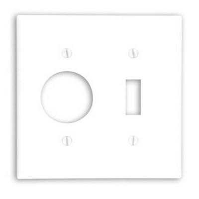 Leviton 88007 2-Gang Standard-Size Combination Wallplate; Device Mount, Thermoset Plastic, White