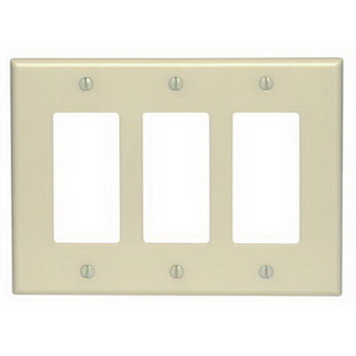 Leviton 80611-I Decora® 3-Gang Midway-Size GFCI Decorator Wallplate; Device Mount, Thermoset Plastic, Ivory