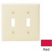 Leviton 80709-R 2-Gang Standard-Size Toggle Switch Wallplate; Device Mount, Thermoplastic Nylon, Red