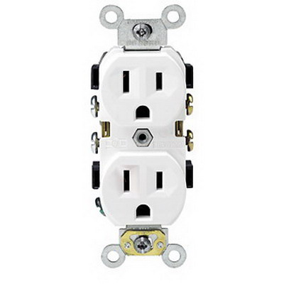 Leviton BR15-W Double Pole Straight Blade Duplex Receptacle; Wall Mount, 125 Volt, 15 Amp, White