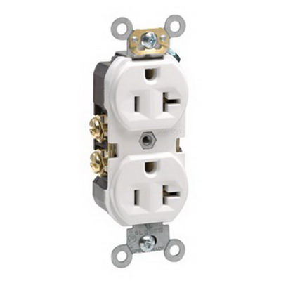 Leviton BR20-W Double Pole Straight Blade Duplex Receptacle; Wall Mount, 125 Volt, 20 Amp, White