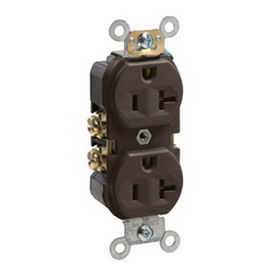 Leviton BR20 Double Pole Straight Blade Duplex Receptacle; Wall Mount, 125 Volt, 20 Amp, Brown