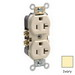 Leviton BR20-I Double Pole Straight Blade Duplex Receptacle; Wall Mount, 125 Volt, 20 Amp, Ivory