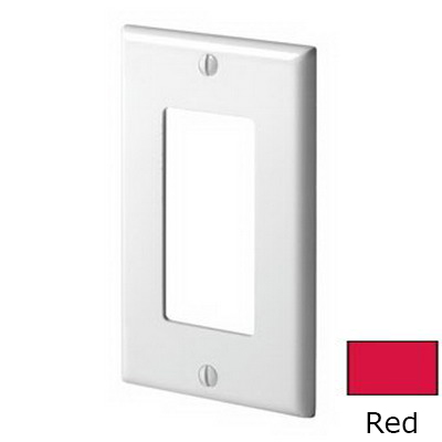 Leviton 80401-NR Decora® 1-Gang Standard-Size GFCI Decorator Wallplate; Device Mount, Thermoplastic Nylon, Red