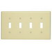 Leviton PJ4-T 4-Gang Midway-Size Toggle Switch Wallplate; Device Mount, Thermoplastic Nylon, Light Almond