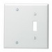 Leviton 84006-40 2-Gang Standard-Size Combination Wallplate; Strap Mount, Stainless Steel, Silver