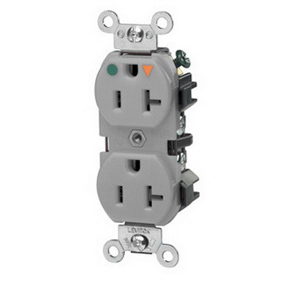 Leviton 5362-IGG Double Pole Isolated Ground Straight Blade Duplex Receptacle; Wall Mount, 125 Volt, 20 Amp, Gray