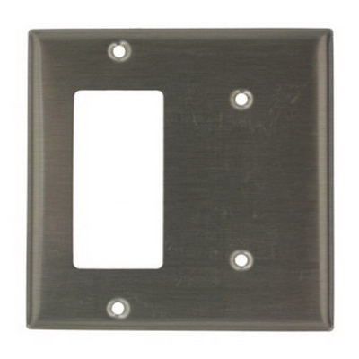 Leviton S1426-N Decora® 2-Gang Standard-Size Combination Wallplate; Strap Mount, Stainless Steel, Silver