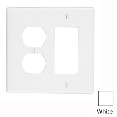 Leviton PJ826-W Decora® 2-Gang Midway-Size Combination Wallplate; Device Mount, Thermoplastic Nylon, White