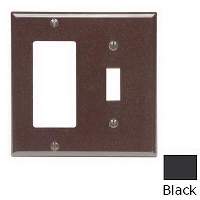Leviton 80405-E Decora® 2-Gang Standard-Size Combination Wallplate; Device Mount, Thermoset Plastic, Black