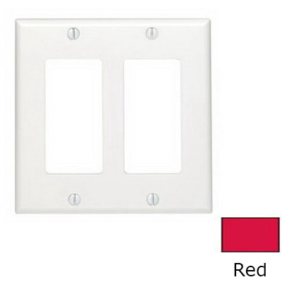Leviton 80409-NR Decora® 2-Gang Standard-Size GFCI Decorator Wallplate; Device Mount, Thermoplastic Nylon, Red