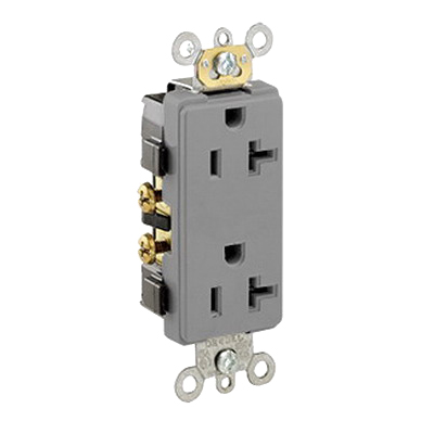 Leviton 16342-GY Decora® Plus Double Pole Straight Blade Duplex Receptacle; Wall Mount, 125 Volt, 20 Amp, Gray
