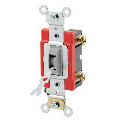 Leviton 1221-2GL Extra Heavy Duty Specification Grade AC Quiet Locking Toggle Switch; SPST, 120/277 Volt AC, 20 Amp, Gray