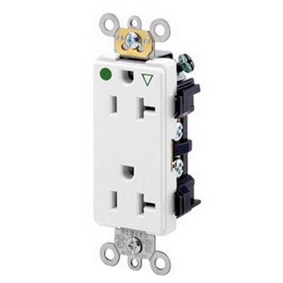 Leviton 16362-IGW Decora® Plus Double Pole Isolated Ground Straight Blade Duplex Receptacle; Wall Mount, 125 Volt, 20 Amp, White