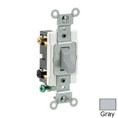 Leviton CS220-2GY Specification Grade AC Quiet Toggle Switch; 2-Pole, 120/277 Volt AC, 20 Amp, Gray