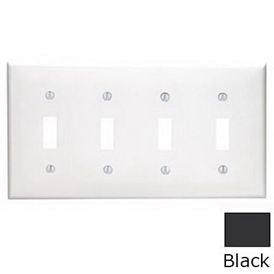 Leviton 80712-E 4-Gang Standard-Size Toggle Switch Wallplate; Device Mount, Thermoplastic Nylon, Black