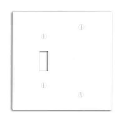 Leviton 80506-W 2-Gang Midway-Size Combination Wallplate; Box Mount, Thermoset Plastic, White