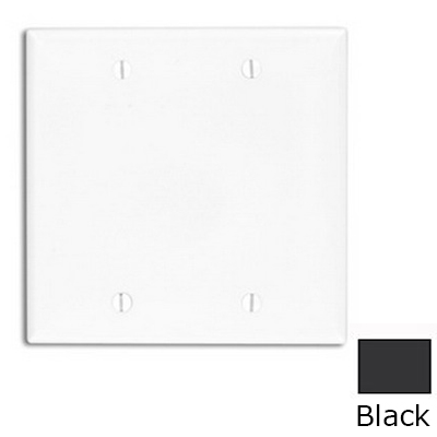 Leviton 80725-E 2-Gang Standard-Size No Device Blank Wallplate; Box Mount, Thermoplastic Nylon, Black