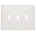 Leviton 88111 3-Gang Oversized Toggle Switch Wallplate; Device Mount, Thermoset Plastic, White