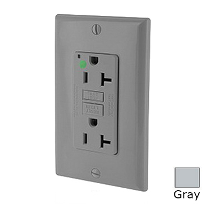 Leviton N7899-HGG SmartlockPro® Slimline Double Pole GFCI Receptacle; Wall Mount, 125 Volt, 20 Amp, Gray