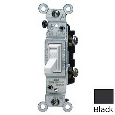 Leviton 1451-2E AC Quiet Framed Toggle Switch; 1-Pole, 120 Volt AC, 15 Amp, Black