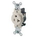 Leviton T5020-T Double Pole Straight Blade Single Receptacle; 125 Volt, 20 Amp, Light Almond