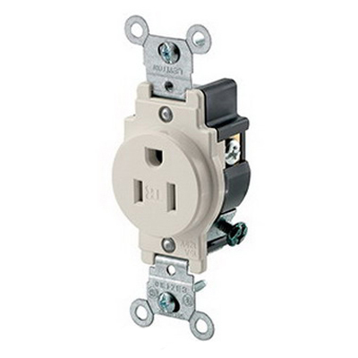 Leviton T5015-T Tamper Resistant Double Pole Straight Blade Single Receptacle; Wall Mount, 125 Volt, 15 Amp, Light Almond