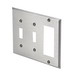 Leviton 84421-40 Decora® 3-Gang Standard-Size Combination Wallplate; Device Mount, Stainless Steel, Silver