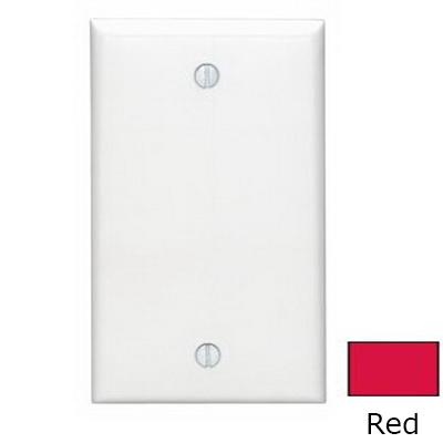 Leviton 80714-R 1-Gang Standard-Size No Device Blank Wallplate; Box Mount, Thermoplastic Nylon, Red