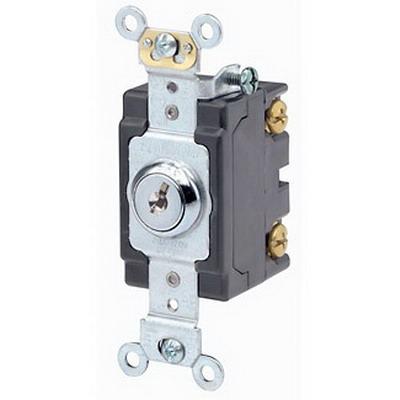 Leviton 1222-2KL Extra Heavy Duty Grade AC Quiet Keyed Locking Toggle Switch; 2-Pole, 120/277 Volt AC, 20 Amp, Chrome