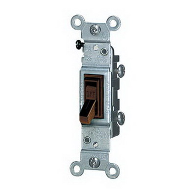 Leviton 1451-2 AC Quiet Framed Toggle Switch; 1-Pole, 120 Volt AC, 15 Amp, Brown