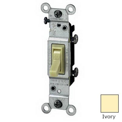 Leviton 1451-2I AC Quiet Framed Toggle Switch; 1-Pole, 120 Volt AC, 15 Amp, Ivory