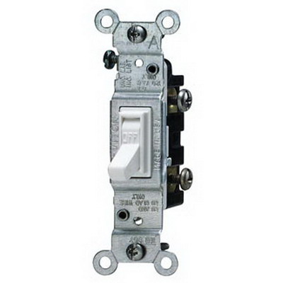 Leviton 1451-2W AC Quiet Framed Toggle Switch; 1-Pole, 120 Volt AC, 15 Amp, White