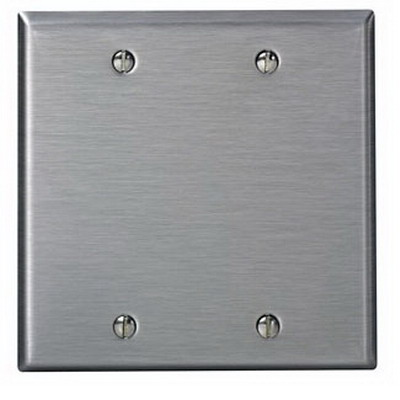 Leviton 84125-40 2-Gang Oversized No Device Blank Wallplate; Box Mount, Stainless Steel, Silver