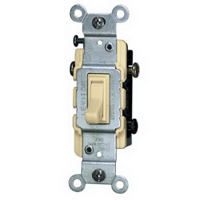 Leviton 1453-2I AC Quiet 3-Way Framed Toggle Switch; 120 Volt AC, 15 Amp, Ivory
