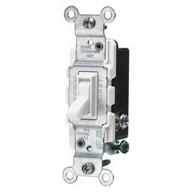 Leviton 1453-2W AC Quiet 3-Way Framed Toggle Switch; 120 Volt AC, 15 Amp, White